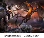 Fantasy Scene With  Armored...
