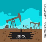oil well drilling with fossil... | Shutterstock .eps vector #260539484
