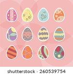 set of easter egg decoration... | Shutterstock .eps vector #260539754