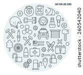 auto service icons set in thin... | Shutterstock .eps vector #260542040