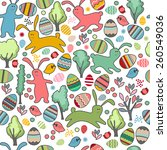 seamless pattern with easter... | Shutterstock .eps vector #260549036