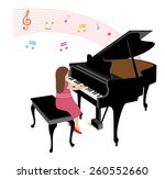 Girl Playing Grand Piano