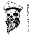 skull with beard and captain hat | Shutterstock .eps vector #260570849