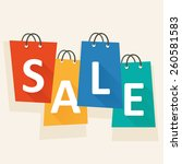 sale template with shopping... | Shutterstock .eps vector #260581583
