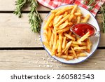 Tasty French Fries On Plate  O...