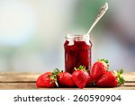 jar of strawberry jam with... | Shutterstock . vector #260590904