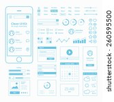 clean mobile web ui kit | Shutterstock .eps vector #260595500