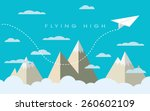 paper plane flying over... | Shutterstock .eps vector #260602109