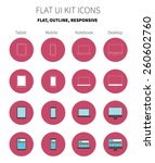 clean flat design icons of...