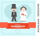 retro blue wedding card vector... | Shutterstock .eps vector #260631446
