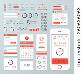 flat mobile web ui kit | Shutterstock .eps vector #260636063