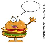 happy hamburger cartoon... | Shutterstock .eps vector #260647118
