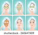 beautiful woman with facial... | Shutterstock .eps vector #260647409
