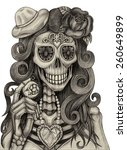art skull day of the dead. hand ...   Shutterstock . vector #260649899