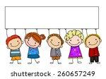sketch children and banner   Shutterstock .eps vector #260657249