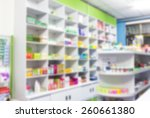 blur shelves of drugs in the... | Shutterstock . vector #260661380