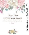 vintage floral card with garden ... | Shutterstock .eps vector #260662103