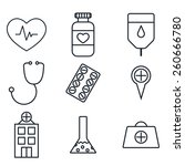medical vector thin icon set