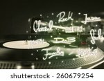 turntable with vinyl and music... | Shutterstock . vector #260679254