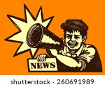 retro newspaper vendor kid... | Shutterstock .eps vector #260691989