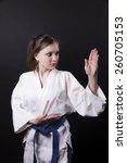 karate girl on black background ... | Shutterstock . vector #260705153