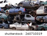 Piled Up Destroyed Cars In The...