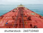 Small photo of Oil tanker deck while calm weather. View from masthead.