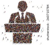large group of people gathered... | Shutterstock . vector #260710784