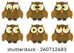 set of 6 owl characters with... | Shutterstock .eps vector #260712683