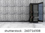 Cloud Computing, Storage Data and Information Concept. Opened Modern Server Rack with a Heavy Wire Cables in a Concrete Room Interior. 3D Rendering - stock photo
