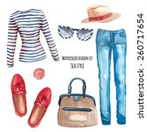 Watercolor Sea Style Fashion...