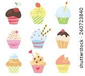 set of vector cute cupcakes   Shutterstock .eps vector #260723840