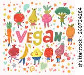 lovely vegan concept card with... | Shutterstock .eps vector #260724284