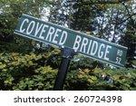 covered bridge sign  | Shutterstock . vector #260724398