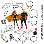 superheroes and cartoon speech... | Shutterstock .eps vector #260728838