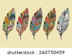 collection of vintage tribal... | Shutterstock .eps vector #260750459