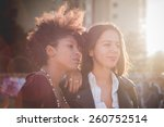 two multiethnic beautiful young ... | Shutterstock . vector #260752514