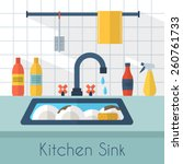 dirty sink with kitchenware ... | Shutterstock .eps vector #260761733