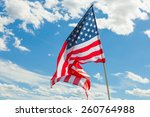 Usa Flag With Clouds On...