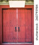 Red Asian Style Door With Blan...