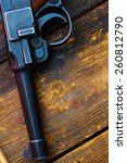 Small photo of part of an old Luger pistol. Parabellum close up