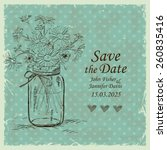 Retro Wedding Invitation With...