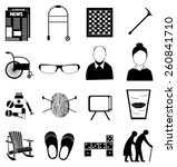 old age retired people icons set | Shutterstock .eps vector #260841710