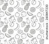 hand drawn fruits seamless... | Shutterstock .eps vector #260847230