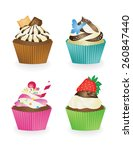 set of cupcakes | Shutterstock .eps vector #260847440