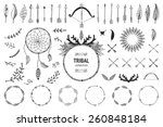 Hand drawn tribal collection with bow,arrows, feathers, dreamcatcher, horns, frame and border, floral elements for design logo, invitation and more. Vector ethnic, aztec, hipster symbols | Shutterstock vector #260848184