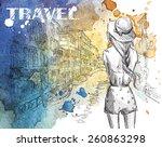 fashion illustration. girl on a ... | Shutterstock .eps vector #260863298