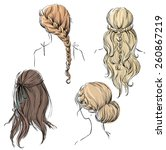 set of different hairstyles.... | Shutterstock .eps vector #260867219