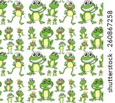 seamless frog in many positions | Shutterstock .eps vector #260867258