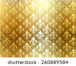 Gold Brocade Background With...